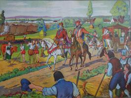 """Affiche scolaire MDI """"Henry IV et Sully font creuser le canal de Briare/les protestants et les catholiques au colloque de Poissy"""""""