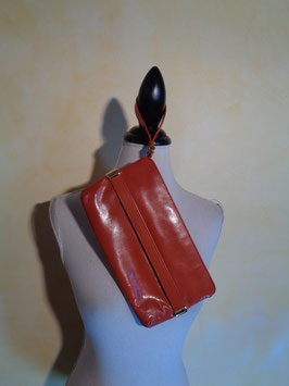 Pochette cuir orange