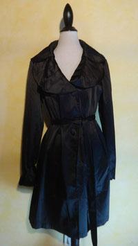 Manteau soie noire 50's T.38