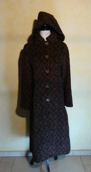 Manteau laine marron 70's T.36