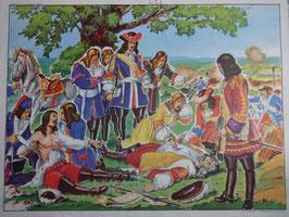 """Affiche scolaire MDI """"la mort de Turenne/repas champêtre sous Louis XIV"""""""