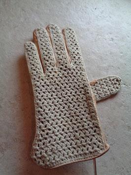 Gants cuir et crochet 70's