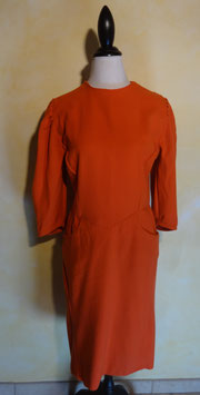 Robe orange laine 60's T.38