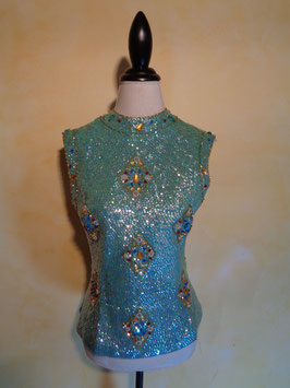 Top sequins et perles 60's T.38