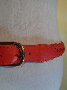 Ceinture cuir rouge tressé