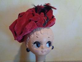 Chapeau velours rouge 40's