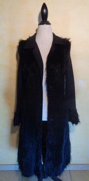 Manteau laine et fausse fourrure 70's T.36