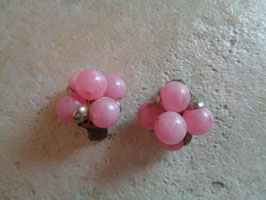 Clips perles roses 60's