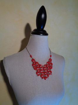 Collier pluie de perles rouges