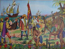 """Affiche scolaire MDI """"l'arrivée de Christophe Colomb en Amérique/Gutenberg dans son imprimerie à Strasbourg"""""""