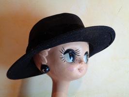 Chapeau laine et velours noir