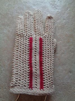 Gants crochets bandes rouges