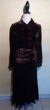 Robe velours marron 40's T.36