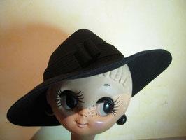 Chapeau noir feutre 50's