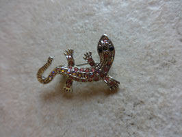 Broche lézard strass