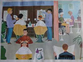 """Affiche scolaire Nathan """"le coiffeur - la sation de métro"""" 60's"""