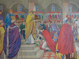 """Affiche scolaire MDI """"le couronnement de Charlemagne/Clovis élevé sur le pavois"""""""