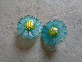 Clips fleurs turquoises