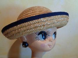 Chapeau paille à bordure bleue
