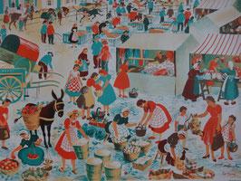 """Affiche scolaire """"le marché"""" 60's"""