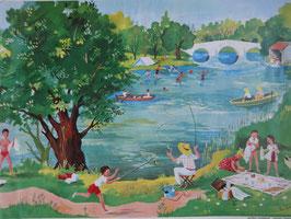 """Affiche scolaire """"le bord de la rivière"""" 60's"""