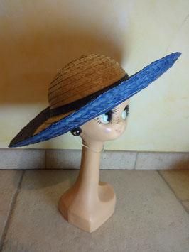 Chapeau paille bordure bleue