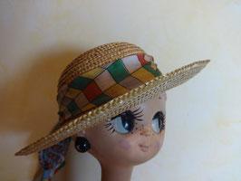 Chapeau paille ruban coton 60's