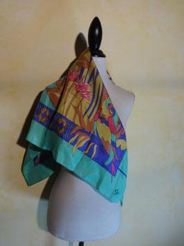 Foulard perroquets soie 70's