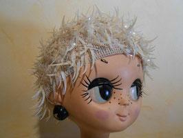 Bonnet pailettes blanches 70's