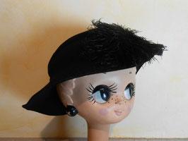 Chapeau laine et plume 50's