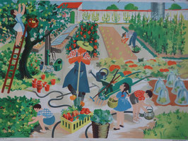 """Affiche Scolaire """"Au jardin"""" 60's"""