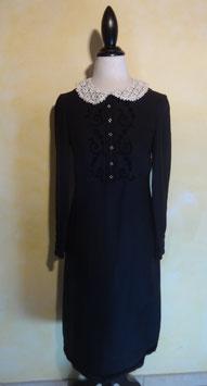Robe noire col dentelle 50's T.36