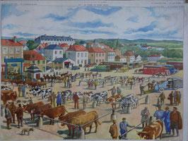 """Affiche pédagogique """"la foire au gros bétail - la manufacture textile"""""""