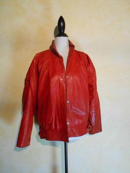 Blouson cuir rouge 80's T.40