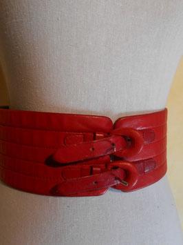 Ceinture cuir rouge 80's