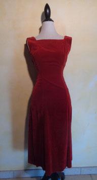 Robe velours rouge 60's T.36