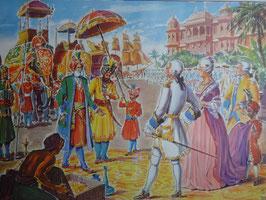 """Affiche scolaire MDI """"Dupleix reçoit un prince Hindou/la mort de Montcalm"""""""