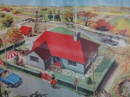 """Affiche scolaire MDI """"le beau temps/le plan du village"""""""