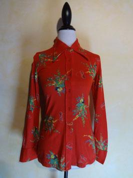 Chemise rouge bouquet 60's T.36