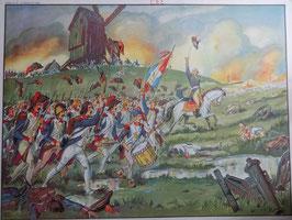 """Affiche scolaire MDI """"la bataille de Valmy/le général Hoche signant la paix avec les vendéens"""""""