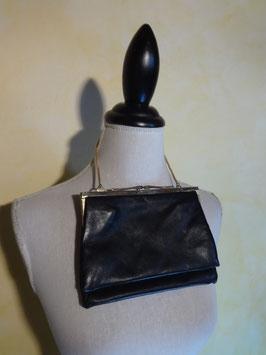 Pochette cuir noir 50's