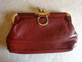 Porte monnaie cuir rouge 70's