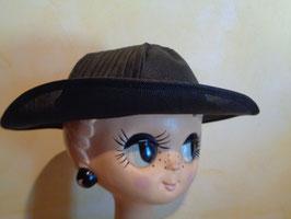 Chapeau noir en paille 40's