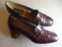 Chaussures cuir bordeau 50's P.38