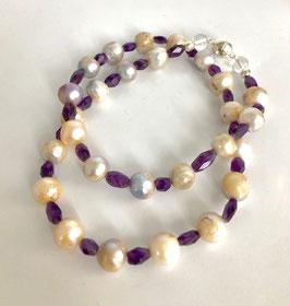 Perlenkette mit Amethyst
