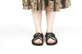 Sandale aus Seil Schwarz