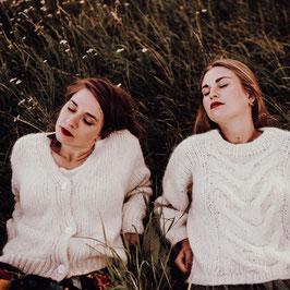 Strickjacke Isabell- Wollweiss