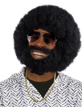 Hippie Afro Perücke in schwarz