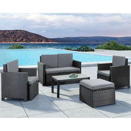 Polyrattan Sitzgruppe Lounge in schwarz mit dunkelgrauen Bezügen