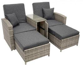 Polyrattan Sessel mit Mitteltisch und Liegefunktion in anthrazit 164 cm